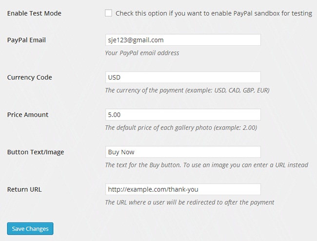 screenshot showing the NextGEN Gallery sell photo plugin settings