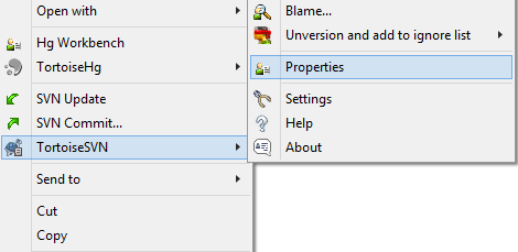 screenshot showing how to navigate to properties of an image using svn