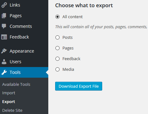 screenshot showing how to export content from a wordpress.com site