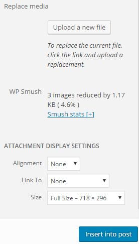 screenshot showing how you can compress a simple image using WP Smush WordPress plugin