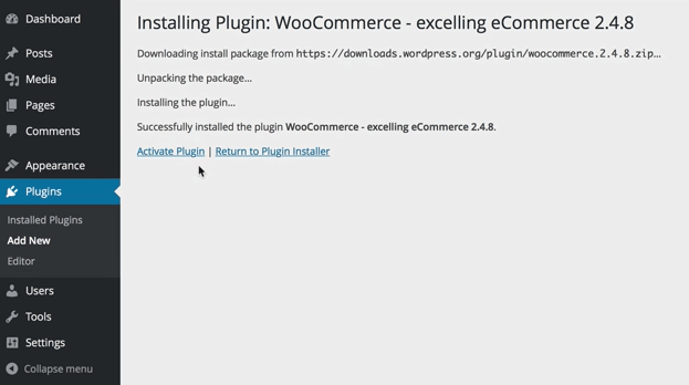 screenshot showing how to activate WooCommerce in the WordPress plugins menu