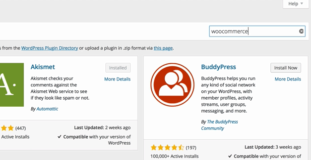 screenshot showing how to search for WooCommerce in the plugin search box