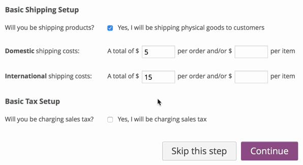 screenshot of WooCommerce base shipping setup screen