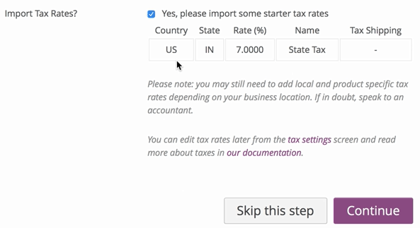 screenshot of WooCommerce import tax rates screen
