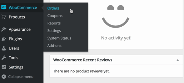 screenshot of WooCommerce plugins menu