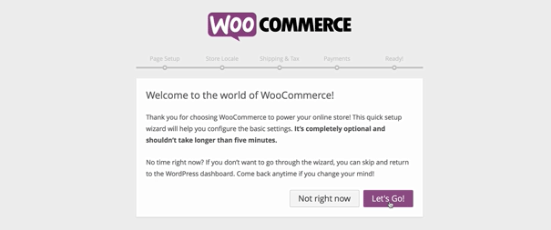screenshot showing how to get started with the WooCommere onboarding or setup wizard