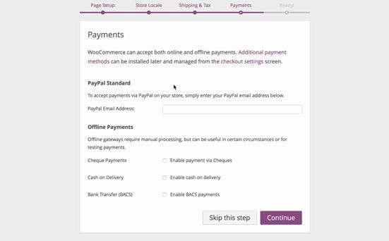 screenshot of WooCommerce payments screen