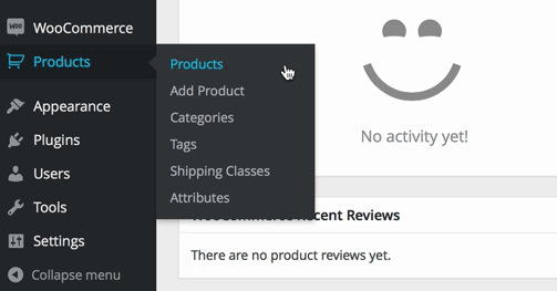 screenshot of WooCommerce products menu