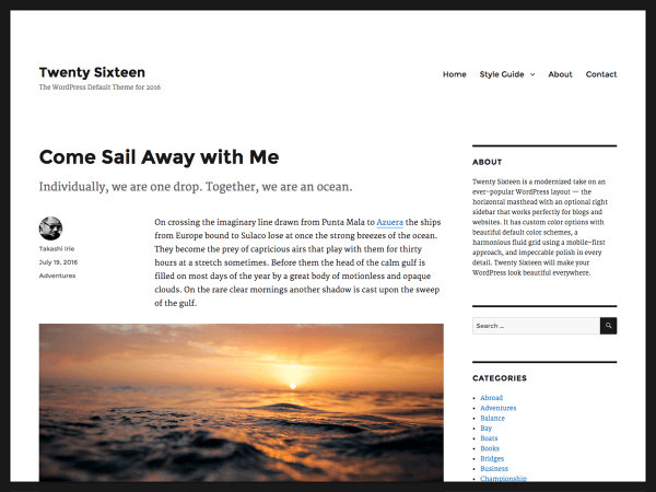screenshot of free twenty sixteen WordPress theme