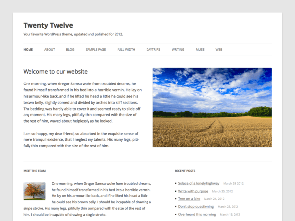 screenshot of free Twenty Twelve WordPress theme