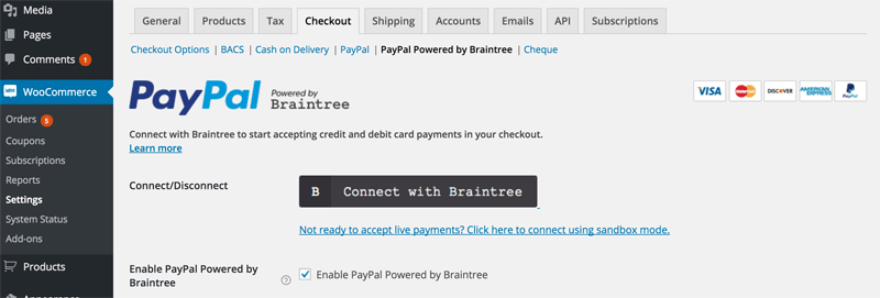 screenshot of PayPal powered by Braintree menu in WooCommerce