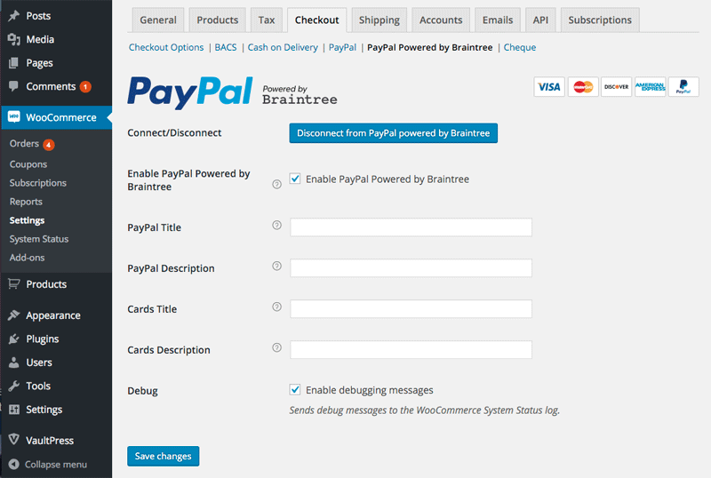 screenshot of PayPal powered by Braintree settings in WooCommerce