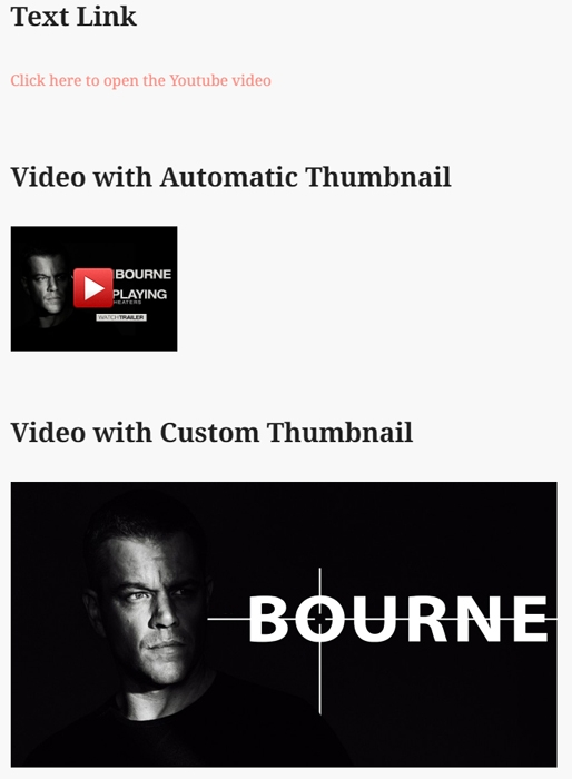 screenshot showing how to embed a YouTube video thumbnail for lightbox