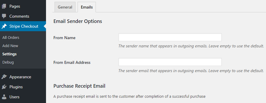 screenshot showing the email sender options in the stripe checkout plugin settings