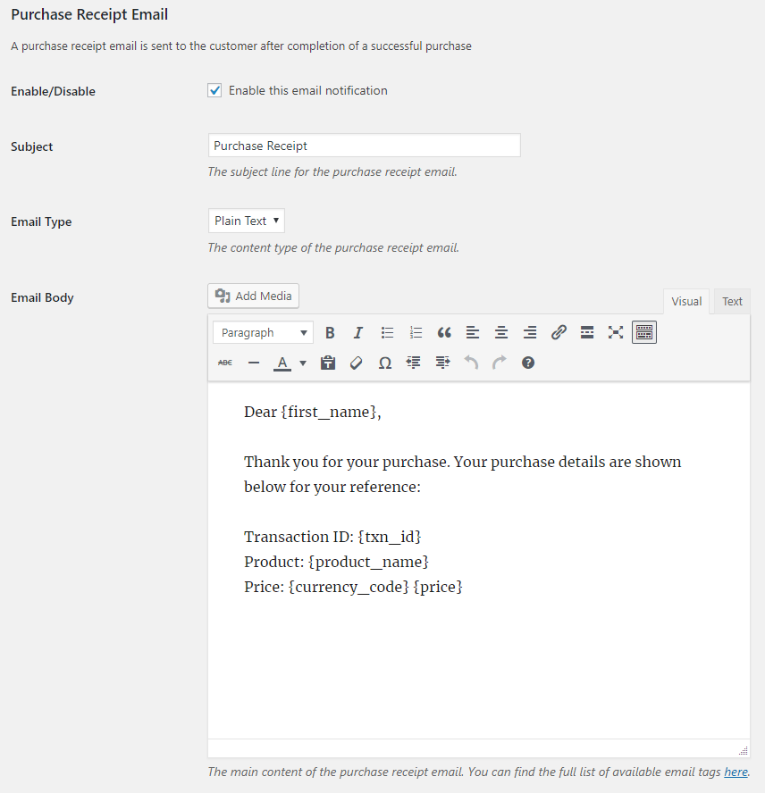 screenshot showing the purchase receipt email related options in the stripe checkout plugin settings