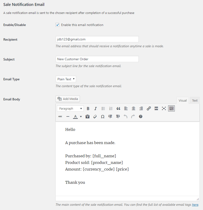 screenshot showing the sale notification email related options in the stripe checkout plugin settings