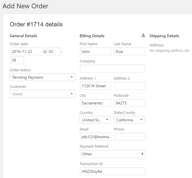screenshot showing how to add a billing and/or shipping address for an order in WooCommerce