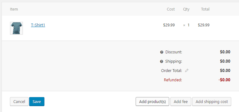 screenshot showing how to manually add a product to a WooCommerce order