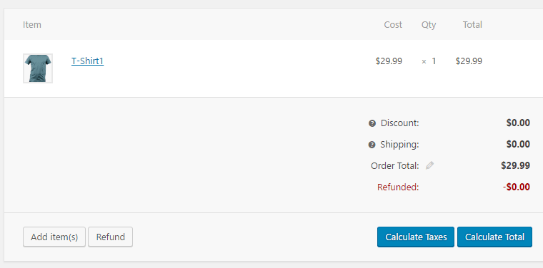 screenshot showing how to calculate the total amount for a product while creating a new order in WooCommerce