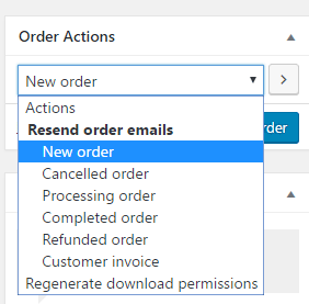 screenshot showing how to resend email for a new order in WooCommerce