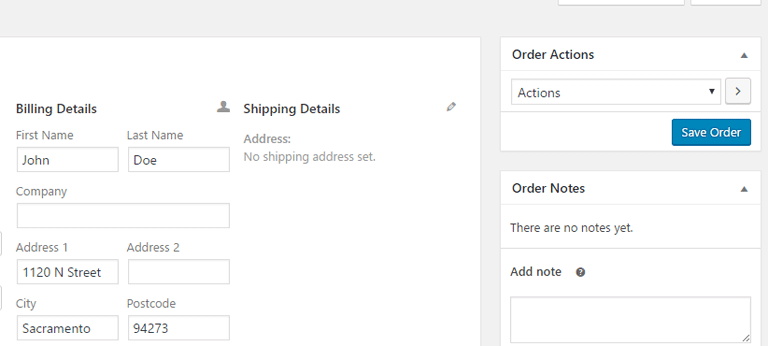 screenshot showing how to save a new order in WooCommerce