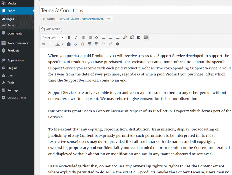 screenshot showing how to create a terms and conditions page in WordPress