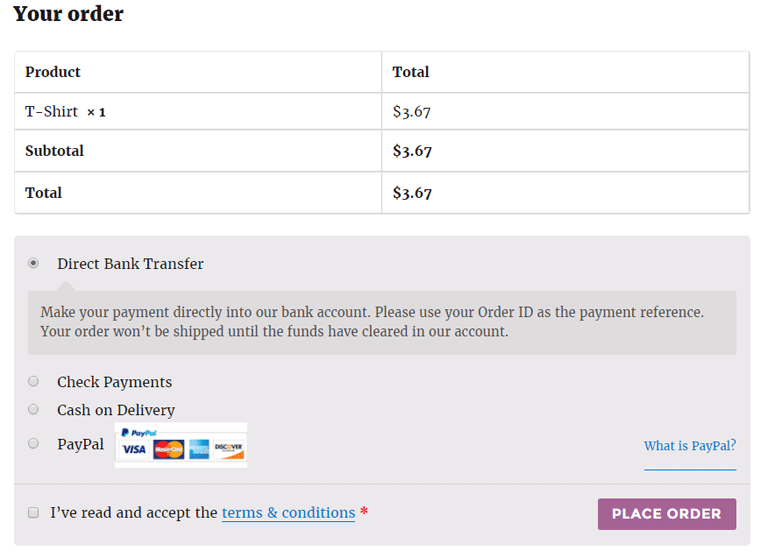 screenshot showing terms and conditions at WooCommerce checkout