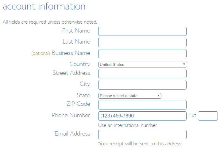 screenshot showing the account information section on the bluehost signup page