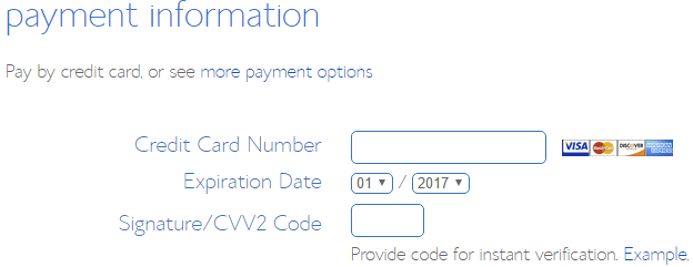 screenshot showing the payment information section on the bluehost signup page
