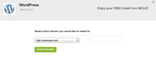 screenshot of the domain selection step in bluehost WordPress installation
