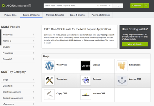 screenshot showing the mojo marketplace interfance on bluehost