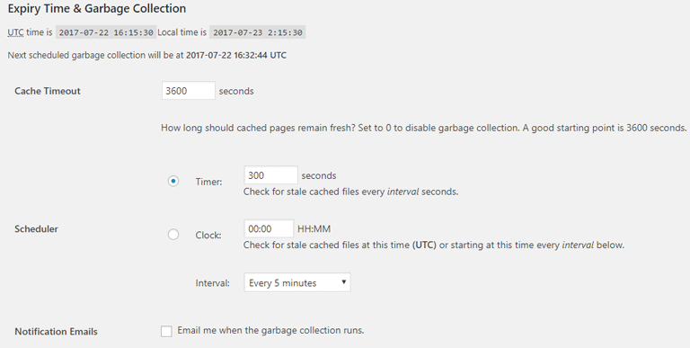 screenshot showing the expiry time & garbage collection section of wp super cache plugin settings