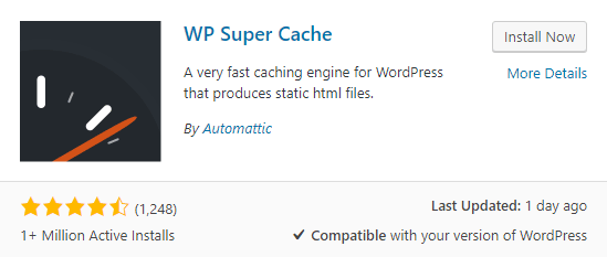 screenshot showing how to search for the WP Super Cache plugin in the WordPress plugins menu