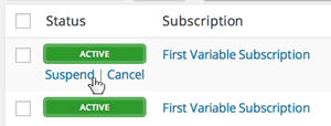 screenshot showing how to manage a subscription in WooCommerce