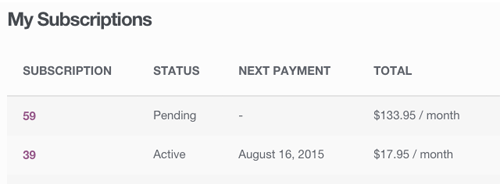 screenshot showing the account management option for a subscriber in WooCommerce