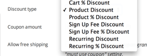 screenshot showing how a coupon can be configured for a WooCommerce subscription
