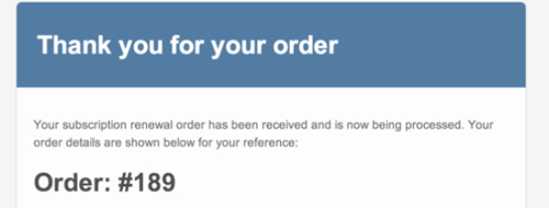 screenshot showing a subscription renewal email sent by WooCommerce