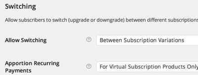 screenshot showing how to switch between a customer upgrade or downgrade in a WooCommerce subscription