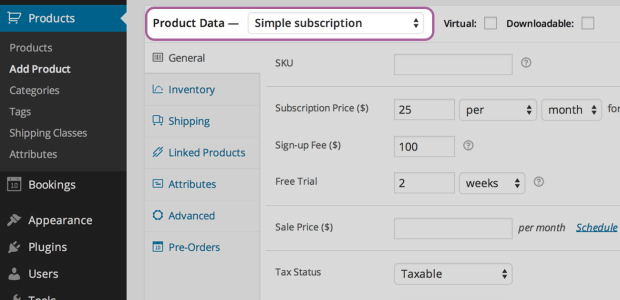 screenshot showing the main flexible product options in a WooCommerce subscription