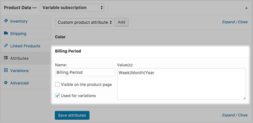 screenshot showing the billing period attribute of a variable subscription in WooCommerce
