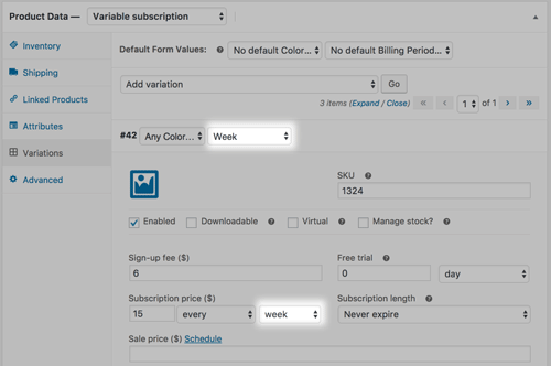 screenshot showing how to configure the billing period in a variable subscription in WooCommerce