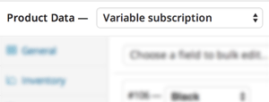 screenshot showing how to select variable subscription as a product type in WooCommerce