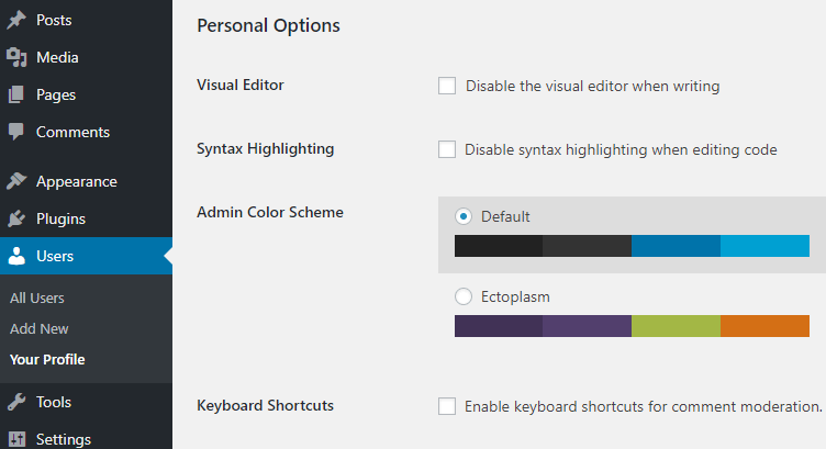 screenshot showing how to disable the syntax highlighting option from the user profile page in WordPress