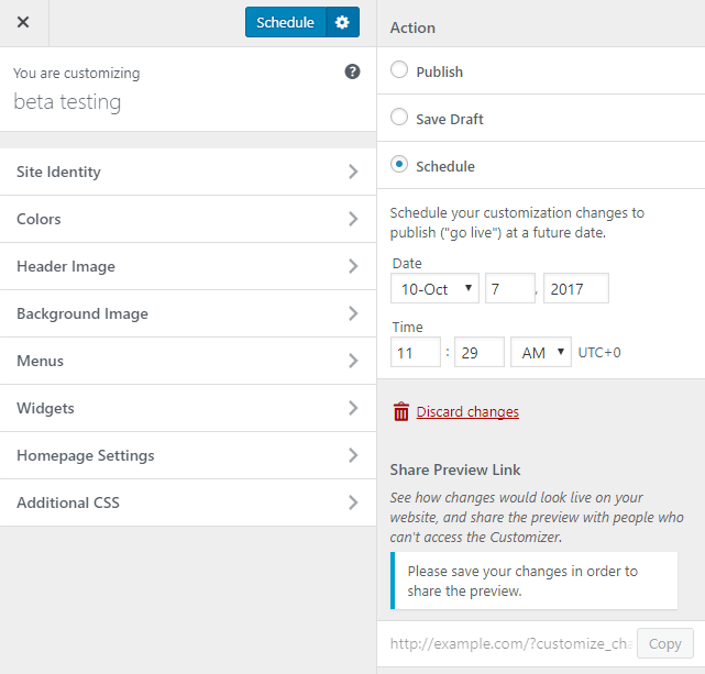 screenshot showing how to schedule changes in customizer in WordPress 4.9