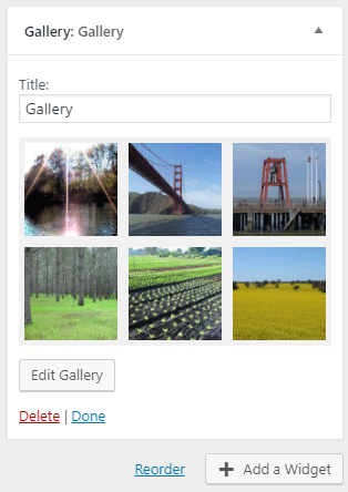 screenshot showing the new gallery widget in WordPress 4.9