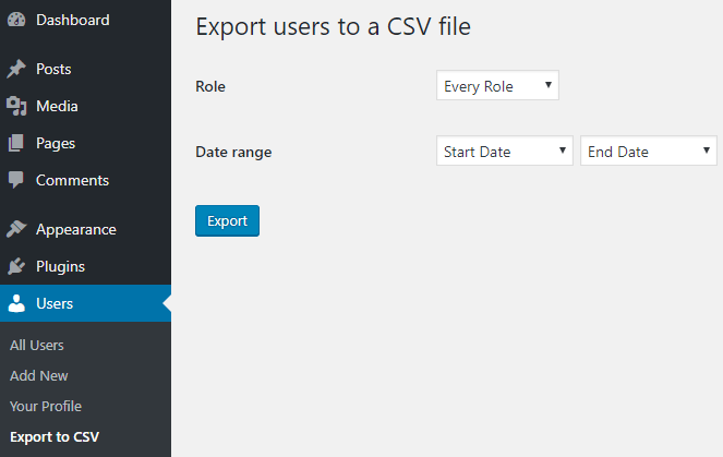 screenshot showing how to export users to a csv file in wordpress