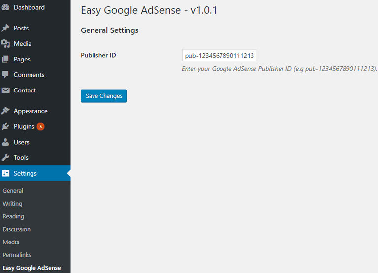 screenshot showing the easy google adsense plugin settings