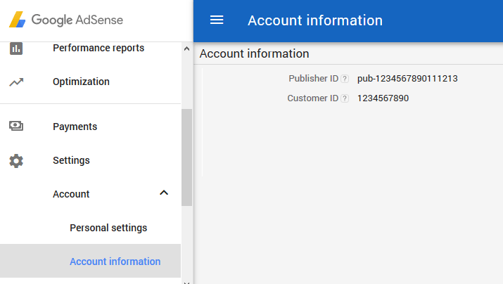 screenshot showing how to find the publisher ID in Google AdSense