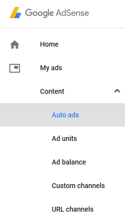 screenshot showing the auto ads menu in Google AdSense