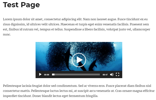 screenshot showing how to center a video in WordPress
